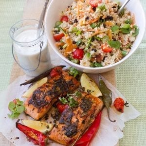 Blackened Salmon, Cous Cous