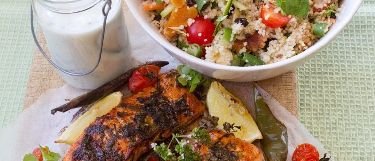 Blackened Salmon, Spiced Couscous Salad, Citrus Yoghurt ...