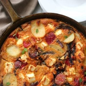 red pepper feta chorizo frittata