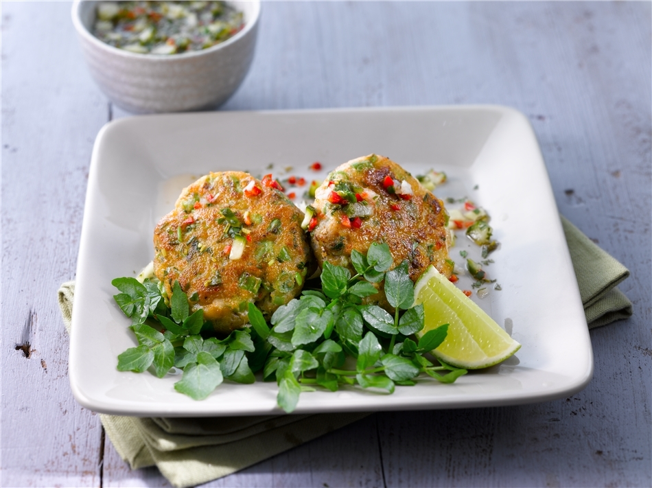 Fish Cakes with Chilli & Coriander Sauce