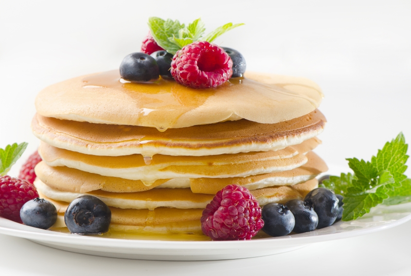 Warm pancakes with Summer Berries