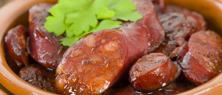 chorizo in red wine; tapas