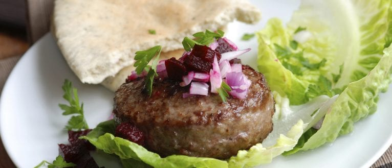 lamb burger with beetroot; lamb recipes