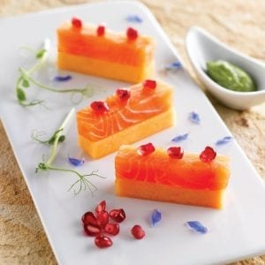 Wild salmon sashimi with melon and pomegranate; salmon recipe; mairin ui chomain