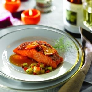 Orange glazed salmon mairin ui chomain; slamon dish