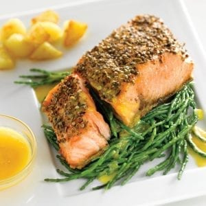 Spicy salmon on samphire Photo by Wlater Pfeiffer; fish recipes; main course dish