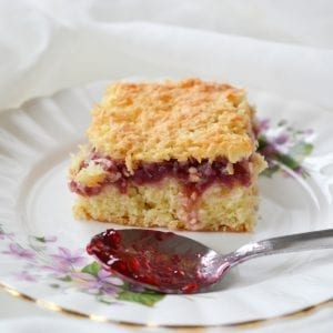 Raspberry Coconut Slice; traybake recipe