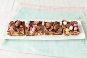 Easter chocolate biscuit squares; easter recipes; kids easter recipes; i love cooking recipes