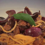 linguine with spicy sausage; chorizo recipe; past recipe; hazel mcfadden; i love cooking