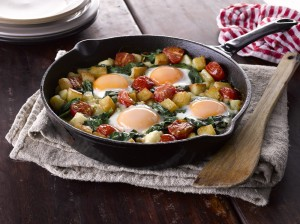 Sauteed Potatoes with Spinach and Eggs