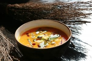 Pumpkin, Crab, Carrot and Orange Soup