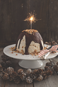 Frosted Meringue Christmas Pudding with Chocolate Sauce and Toasted Hazelnuts Darina Allen