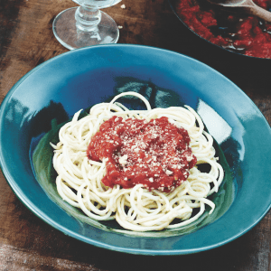 Carb-free Spaghetti with Sweet Pepper Pasta Sauce created by Bernadette Bohan
