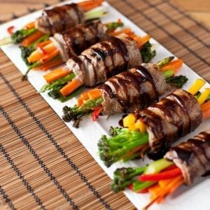 Steak and Veggie Rolls with a Balsamic Glaze