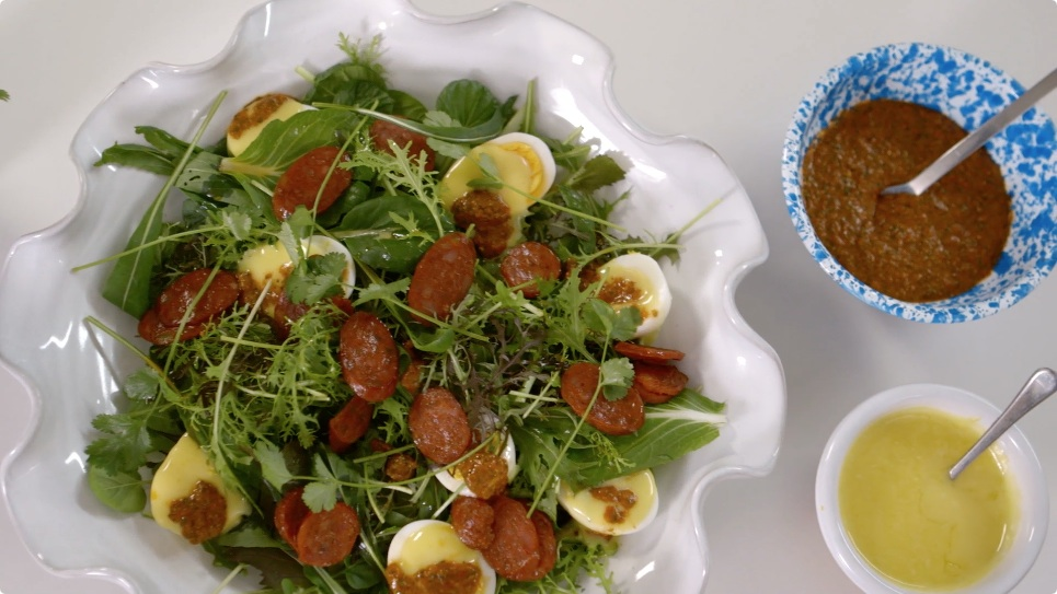 A Salad of Hard Boiled Eggs With Mayonnaise, Harissa & Chorizo
