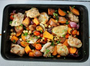 Baked chicken thighs with sweet potato and chickpeas (3)