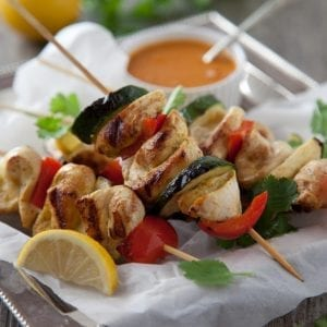 Chicken and Red Pepper Skewers with Korma Sauce
