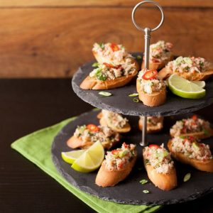 asian crab crostini