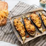 Dubliner Cheese Stuffed Aubergine Boats