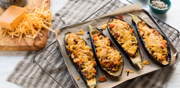 Dubliner Stuffed Aubergine Recipe, Dubliner Cheese, Vegetarian recipe, i Love Cooking