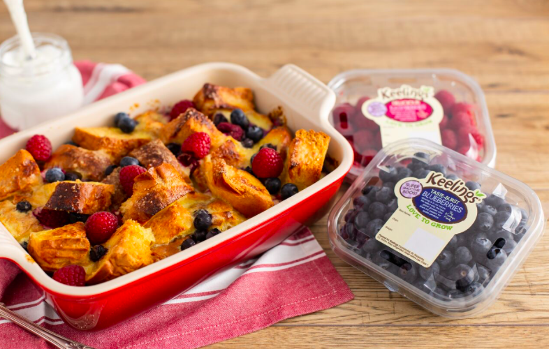 Keeling's Blueberry & Raspberry Bread & Butter Breakfast Pudding