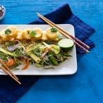 Crispy Fried Egg Tofu with a Summer Rice Noodle Salad