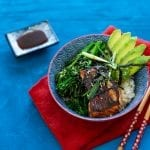 SALMON TERIYAKI RICE BOWLS WITH BROCCOLI, AVOCADO & NORI SEAWEED