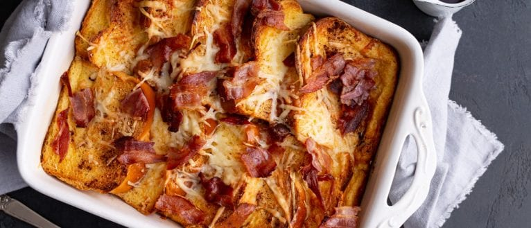 Bacon & Gruyere Baked French Toast, Baked French toast, Brunch recipe, breakfast recipe