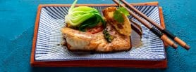 Ginger & Garlic Baked Salmon with honey & Soy On steamed Sushi Rice & Nori Seaweed, with King Prawn Dumplings , Salmon recipe, healthy recipe, Chinese New Year, Kwanghi Chan, Kenwood