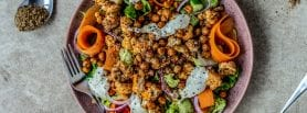 Buffalo Chickpea and Cauliflower Salad, vegan salad recipe, vegan recipe, vegan, I Love Cooking vegan, Michelle Hunt, Peachy Palate